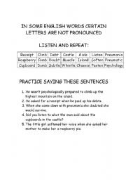 English Worksheets: Letters that are not Pronouced