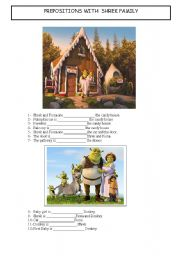 English Worksheet: PREPOSITIONS WITH SHREK FAMILY