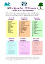 English Worksheet: Debate Hour:  The Environment
