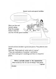 English Worksheet:  Speech marks and speech bubbles