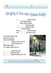 English Worksheet: Song Activity - Singing in the rain