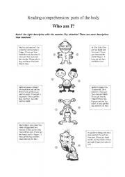 English Worksheet: Parts of the body : monster READING