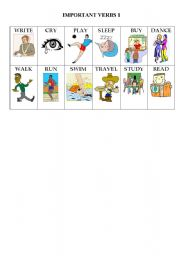 English Worksheets: Action Verb Flashcards part 1