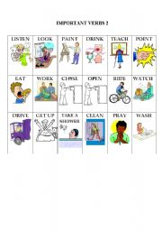English Worksheets: Action Verb Flashcards 2