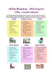 English Worksheet: Debate Hour:  The Individual