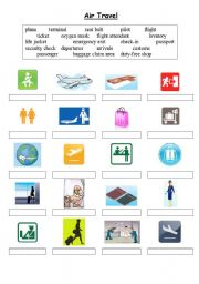 English Worksheets: Air Travel Vocabulary - matching exercise