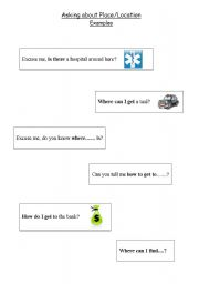 English Worksheets: Asking about Place/Location - Useful Expressions