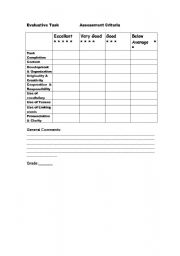 English Worksheet: Assessment criteria for written & oral task