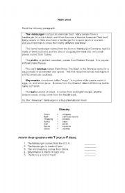 English Worksheet: Hamburguers