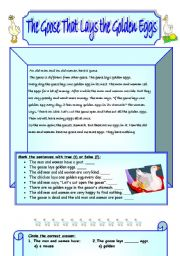 English Worksheets: The Goose That lays the Golden Eggs