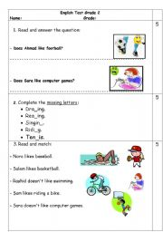 Printables English Test Grade  2 worksheet grade 2 test english test