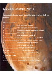 English Worksheet: Our Solar System Part 1