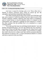 English Worksheet: Acid Rain (Author-Bouabdellah)