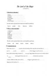 English Worksheet: the Lord of the Rings(test)