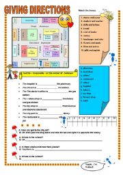 English Worksheet: GIVINGDIRECTIONS AND TOWN BUILDINGS