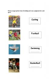 English Worksheet: SPORTS CLOTHES & EQUIPMENT