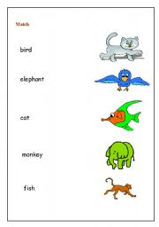 English Worksheets: match the word with the picture