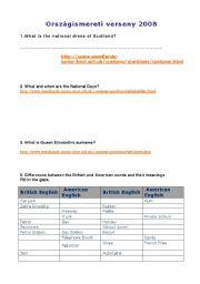 English Worksheet: Webquest -  British Culture