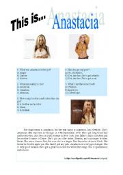 English Worksheets: This is Anastacia
