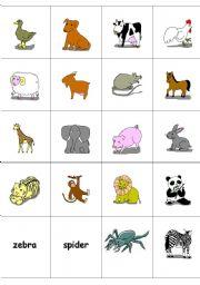 English Worksheets: animals memory game