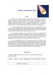 English Worksheets: Reading Comprehension (asteroids)
