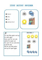 English Worksheets: ITSY BITSY SPIDER song