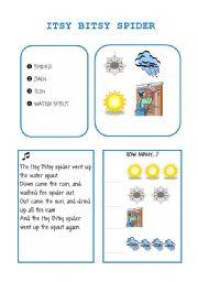 English Worksheet: ITSY BITSY SPIDER song