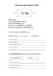 English Worksheet: Present Simple: Questions and Negatives with �To Be�