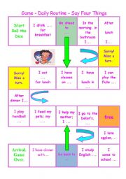 English Worksheets: Board game about daily routine