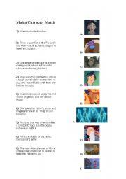 Worksheets Mulan Worksheet worksheet mulan character match english match