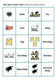 English Worksheet: Song: Baa baa black sheep 2 - pelmanism cards