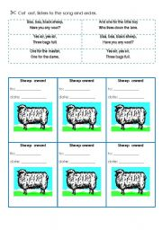 English Worksheet: SOng: Baa baa black sheep 3 - activity cards, award cards