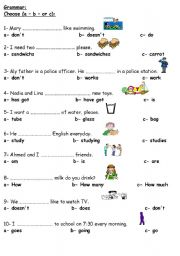 English Worksheet: Grammar Elementary Test.