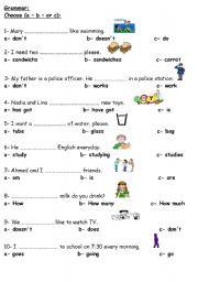 elementary english grammar test pdf