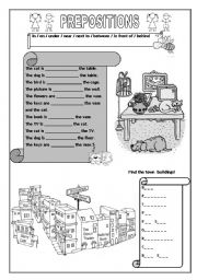 English Worksheet: PREPOSITIONS AND TOWN BUILDINGS