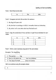 english worksheets spelling writing and sentence building 4 pages. Black Bedroom Furniture Sets. Home Design Ideas