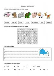 English Worksheets: Animals Workshhet