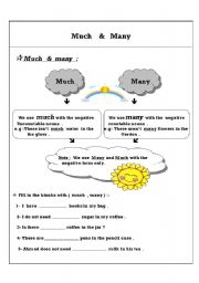 English Worksheet: much many