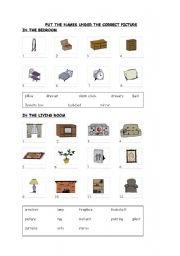 english worksheets things in the bedroom and living room. Black Bedroom Furniture Sets. Home Design Ideas