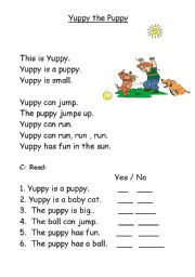 English Worksheets: Yuppy the Puppy