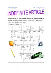 English Worksheet: Indefinite Article