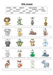 English Worksheet: Wild Animals - Matching exercise