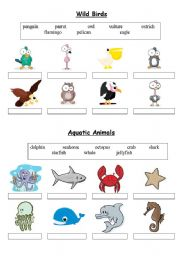 English Worksheets: Birds & Aquatic Animals - matching exercise