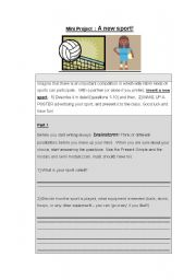 English Worksheet: Mini Project: A new sport!