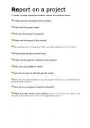 English Worksheets: Reporting on a business project