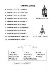 English Worksheet: CAPITAL CITIES
