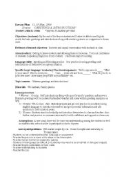 English Worksheets: Greeting and Introductions/ Lesson Plan