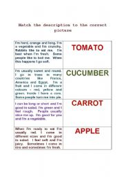 English Worksheets: match the description to the correct noun
