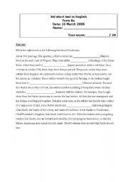 English Worksheet: short test Native Americans