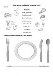 English Worksheet: What would you like for breakfast today?